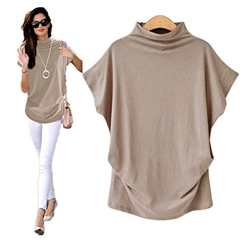COOKI Women Shirts Turtleneck Short Sleeve Cotton Blouse T Shirt Casual Loose Tunic Tops Khaki