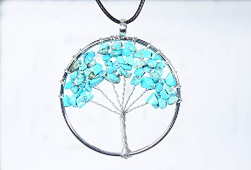 Tree of Life Pendant Amethyst Rose Crystal Necklace Gemstone Chakra Jewelry (Blue Turquoise)