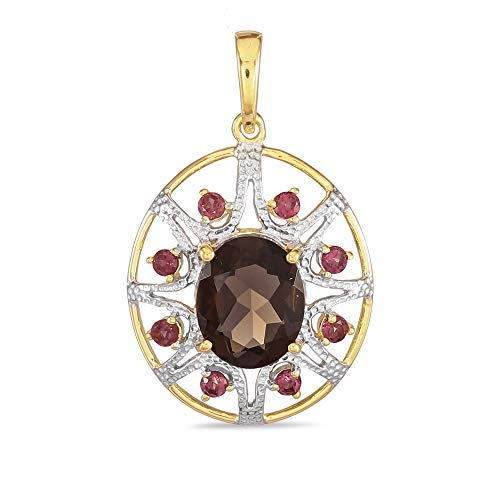 Yellow Gold Plated 925 Sterling Silver Oval Shaped Smokey Quartz Fancy For Her Pendant with Rhodolite Garnet Without Chain -