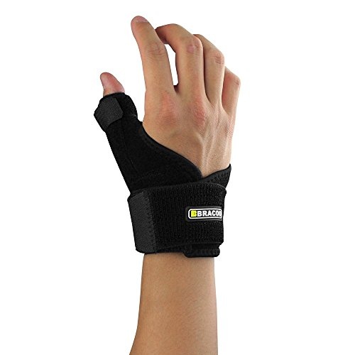 Bracoo Thumb & Wrist Brace, Reversible Neoprene Splint with Dual Spring Stabilizers for Reliable - Spica Neoprene Thumb