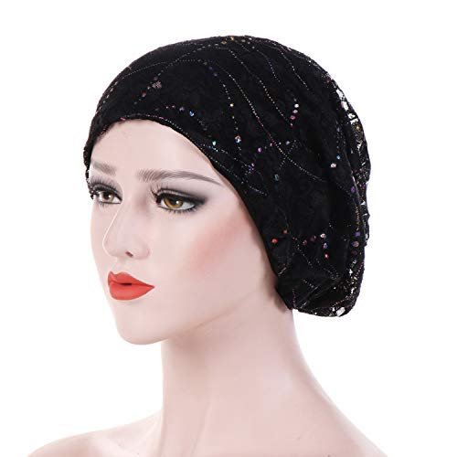 - Women Stretchy Hat Fashion Beaded Lace Turban Head Wrap Cap Muslim Hat Colorful Head Wrap Cap Bonnet Femme