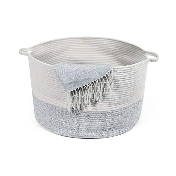 """KWY Home XXXLarge Cotton Rope Woven Storage & Toy Basket – 22"""" x 22"""" x 14"""" – Holds 4 Blankets, 20 Towels, 5 Pillows!! – Perfect for Baby Nursery, Laundry Hamper or Living Room with Handles"""