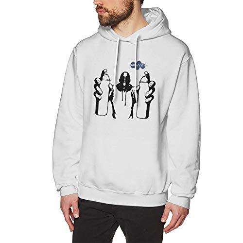- Men's Hooded Pocketless Sweatshirt Oversized Classic Print Casual Inkjet Logo White 3XL
