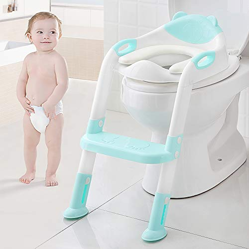 Kids Potty Training Seat Toddler Toilet Seat with Step Stool Ladder,Potty Training Toilet for Kids Boys Girls Toddlers-Comfortable Safe Potty Seat Potty Chair with Anti-Slip Pads Ladder