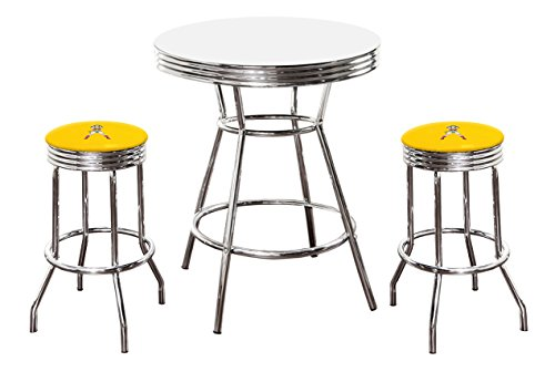 The Furniture Cove New 3 Piece Wonder Woman Metal Bar Table Set with Black or White Top and 2 Bar Stools with Your Choice of Seat Cushion Vinyl Color (White Table, Yellow Vinyl)