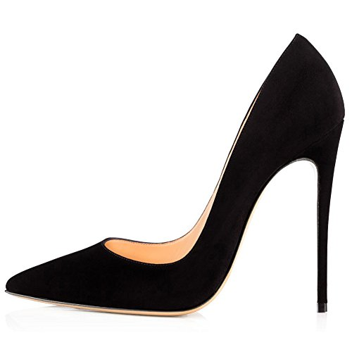 Kmeioo High Heels, Women's Pointed Toe High Heel Slip On Stiletto Pumps Evening Party Basic Shoes Plus Size-Black-Suede 8 M US