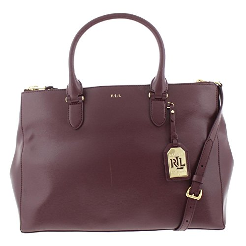 Lauren Ralph Lauren Womens Newbury Leather Satchel Handbag Purple Large