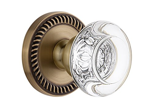 Bordeaux Door Knob (Grandeur Newport Rosette with Bordeaux Crystal Knob, Single Dummy, Vintage Brass)