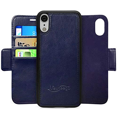 Newseego Compatible with iPhone XR Leather Case,Wallet Case [Detachable 2 in 1 Wallet Folio] [Premium Vegan Leather] 2-Way Stand Flip Folding Slim Cover for iPhone XR-(Blue)