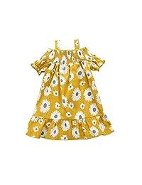 Toddler Baby Girl Sun Dress Sunflower Print Off Shoulder Summer Beach Dress Casual Clothes