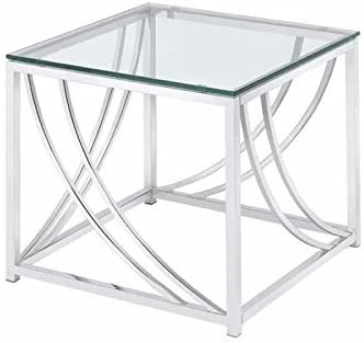 Square End Table with Swoop Accents Chrome