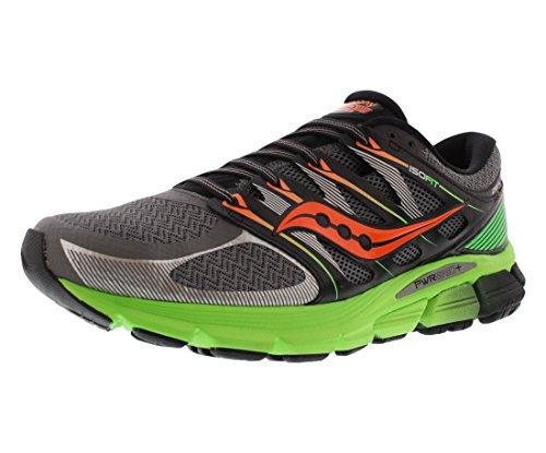 Saucony Men's Zealot ISO Running Shoe, Grey/Slime/Orange,8.5 M US