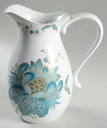"222 Fifth Eliza Teal Pitcher - 11"" Tall"
