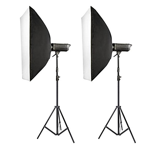 "Neewer Set of Two(2) 600W Photography Monolight Softbox Kit, includes (2) 300W 110V Digital Studio Flash/Strobe Modeling Light, (2) 24x35""/60x90cm Rectangular Softbox with Bowens Mount, (2) 8.5ft/260cm Light Stand"