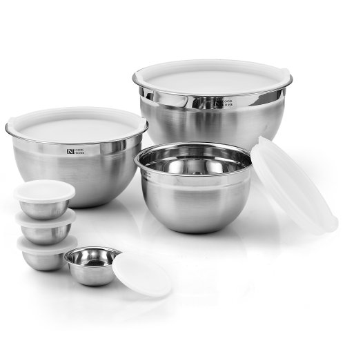Cook N Home 14-Piece Stainless Steel Mixing Bowl Set, 4set/case
