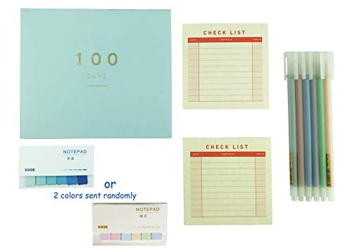 Help You Accomplish Your Goals Set 10 Pieces Includes 100 Days Planner Sticky Notes Check List 6 Colors Pens for Study Preparation of Test Examination Certificate Exercise Plan Gift (Blue, Large) -  Lemon Breeze, 43458-3214
