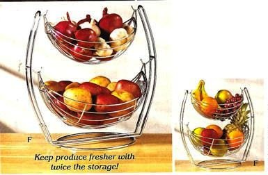 2 TIER DOUBLE HAMMOCK CHROME PRODUCE BASKET STAND Stainless Steel Fruit Basket