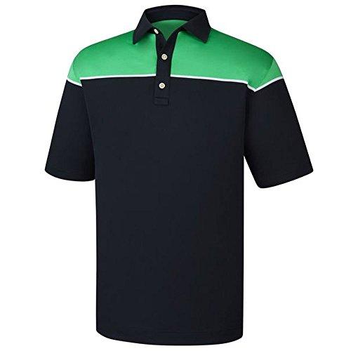 (FootJoy Men's Color Block Pique Golf Polo (XXL, Navy/White/Green))