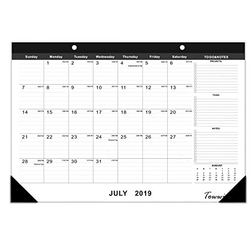 TOWWI 2019 - 2020 Year Monthly Desk Pad Calendar, 16.8