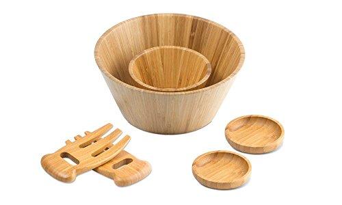 (Modernhome BSS-625 6 Piece Serving Bowls Salad Fingers/Salad Servers Bamboo Salad Bowl Set, Natural)