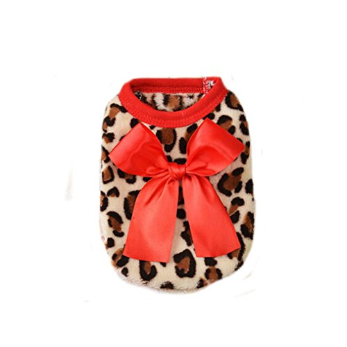 Puppy Clothes,Neartime Cute Bowknot Dog Clothes Pet Outfit Coat (L, Red) (Pumpkin Outfit For Dogs)