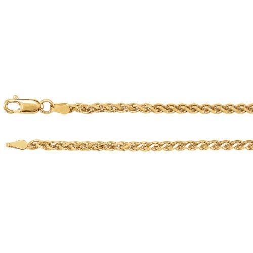 Jewelplus 2.75mm Wheat Chain Bracelet 14K White Gold - 07.00 Inch