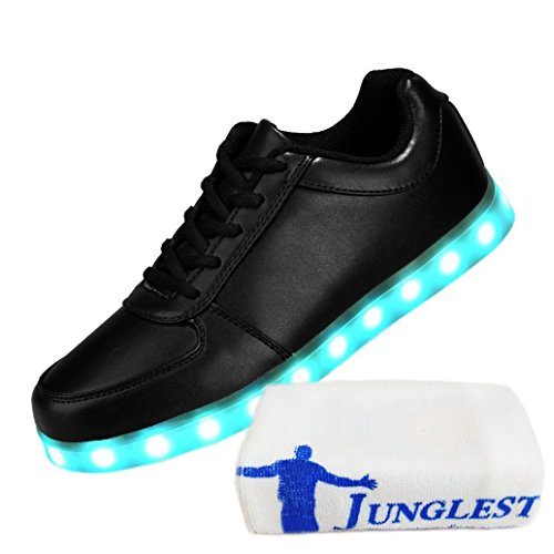 (Present:small towel)JUNGLEST® Womens Mens 7 Colors Light USB Charging LED Light-Up Sport Shoes Fl Black ZyDg4OhU