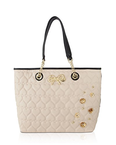 Johnson Leather (Betsey Johnson Be Mine Sequin Flower East West Tote With Pouch Shoulder Bag - Sand)