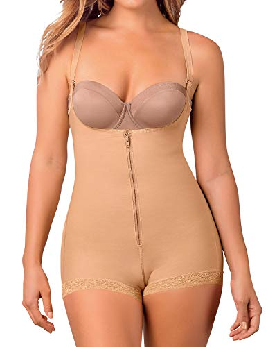 Leonisa Women's Slimming Braless Firm Tummy Compression Body Shaper in Boyshort with Rear Lift,Beige,Large