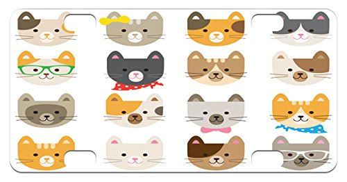 Animals Mini License Plate by Lunarable, Cats Costume with Glasses and Bow Tie Bandana Cartoon Artwork Craft Pattern Print, High Gloss Aluminum Novelty Plate, 2.94 L x 5.88 W Inches, Multicolor