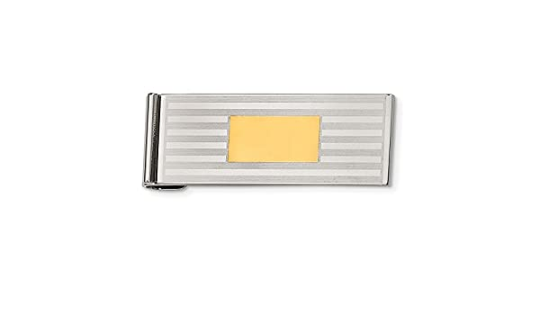Stainless Steel Brushed and Polished Yellow IP-plated Money Clip