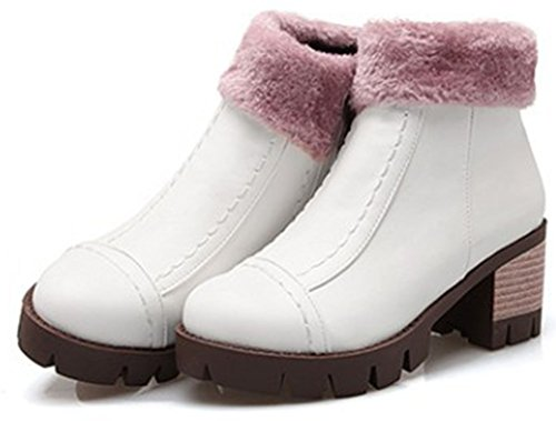 Easemax Women's Comfy Round Toe Zip Up Mid Chunky Heel Platform Short Ankle High Booties White MUtj4