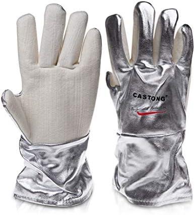 手袋 反火傷防止手袋工業用グレード高温耐性アルミ箔手袋高温300-400度5指肥厚 LMMSP (Size : 33cm)