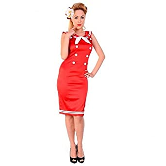 0b1a6a985e4 hotrodspirit - Robe pin up Sailor Navy Rouge Taille S Marine Sexy Rockabilly  Retro