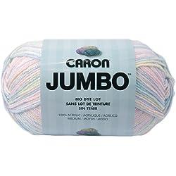 Caron Jumbo Prints Yarn, 12 Ounce, Baby Rainbow, Single Ball