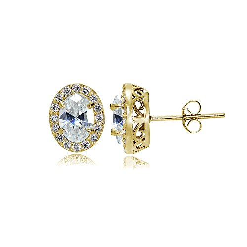 Yellow Gold Flashed Sterling Silver Cubic Zirconia Oval Halo Stud - Cubic Stone Peridot Center Zirconia