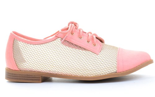 Mocassini Eleganti Stringati Oxford Shoes Mesh Trasparente Vegan Leather Fourever Funky Peach