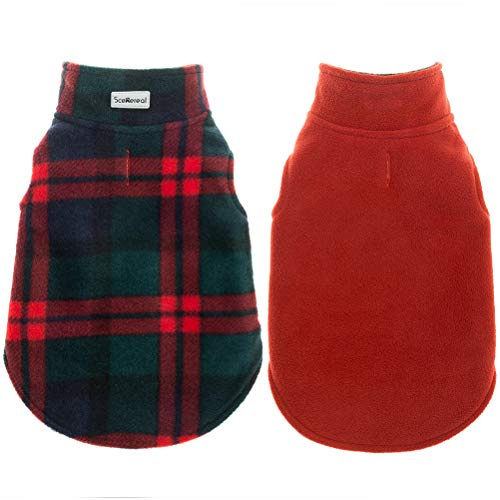 - SCENEREAL Dog Winter Clothes Reversible Fleece Jacket Warm Coat Windproof Christmas Costume Xmas Gifts for Cold Weather Wearing, Green/Red S