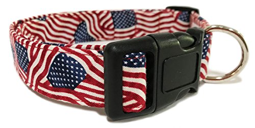 Adjustable Dog Collar with American Flags (U.S.A. Made)