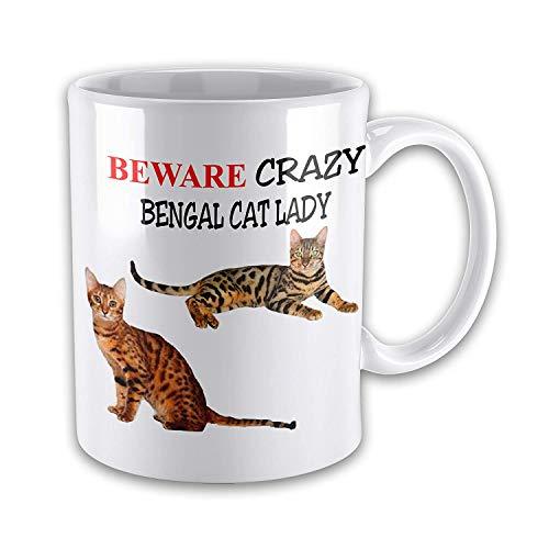 Funny Mugs Beware Crazy BENGAL CAT LADY Funny Novelty Gift Mug