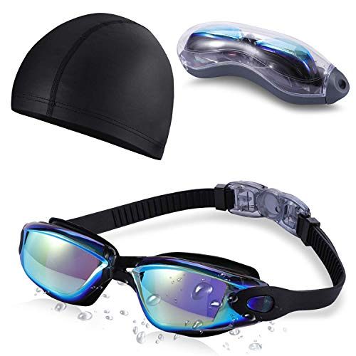 Swim Goggles and Cap Set SKL Swimming Goggles No Leaking Anti Fog UV Protection Triathlon Swim Goggles with Protection Case for Adult Men Women Youth - Set Swimming