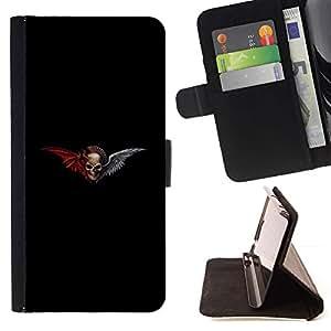 Momo Phone Case / Flip Funda de Cuero Case Cover - Negro Alas Cráneo Rojo Diablo motorista Muerte - HTC One M8