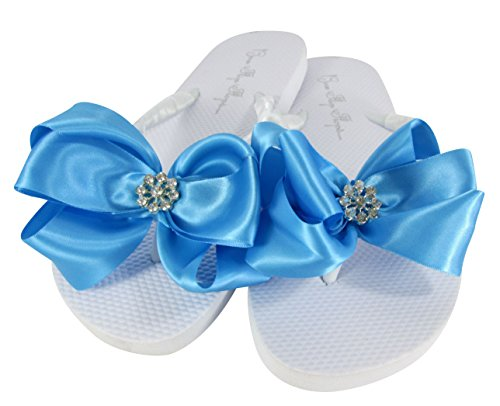 Daisy Bridal Shoes - Wedding Flip Flops for Flower Girl Sandals, Bride Shoes, Bridesmaid Flat Flip Flop with Daisy Bows