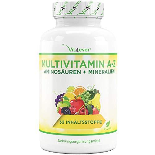 Vit4ever® Multivitamin A-Z - 365 Tabletten - 32 Vitamine - Kombination aus Mineralien + Aminosäuren + Spurenelementen + Antioxidantien - 12 Monatspackung - Laborgeprüft - Vegan - Täglich nur 1 Tablett