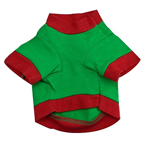 Image of haoricu Pet Shirt, Christmas Dog Cotton Costume Small Dog Cat Pet Clothing Pet Vest Puppy T Shirt Apparel (L, Green 1)