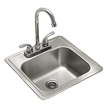 Kindred FBFS602NKIT Single Bowl Stainless Steel 15 X 15 Inch Top Mount Sink