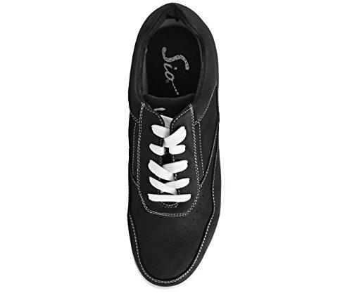 Sio Nubuck Konstläder Låg Top Sneaker Stil Skeppare Svart