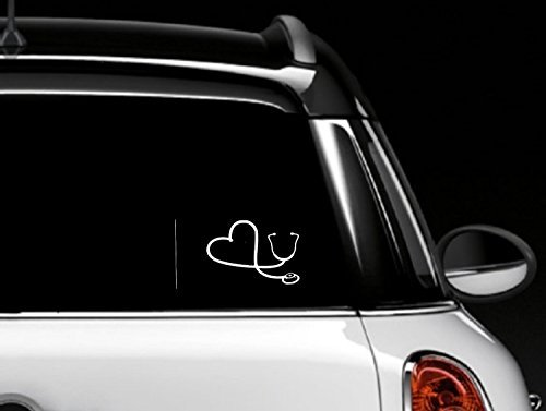 White Heart Stethoscope Car Window Decal 6'' White
