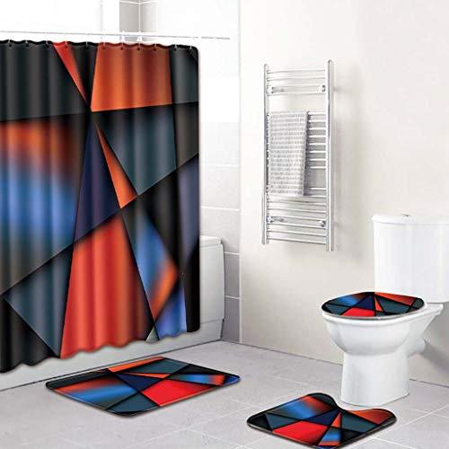 OrchidAmor 4PCS Non Slip Toilet Polyester Cover Mat Set Bathroom Shower Curtain