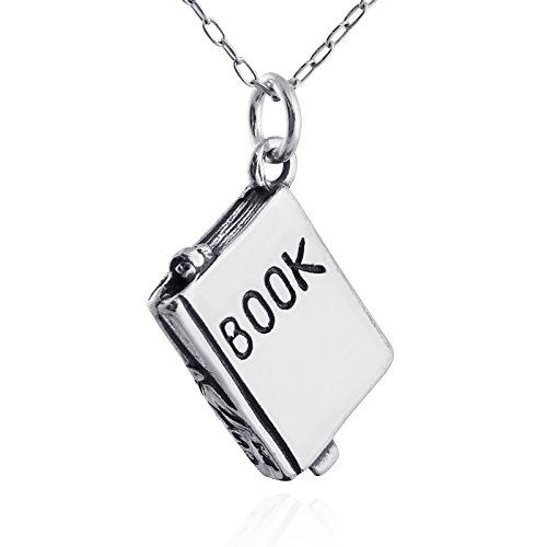 FashionJunkie4Life Sterling Silver Small 3D Book Charm Necklace, 18